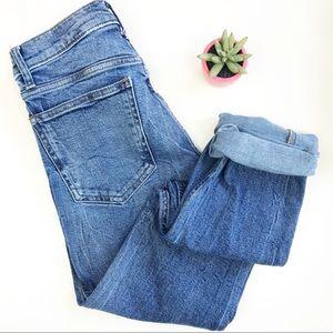 Gap High Rise Slim Straight Vintage Wash Mom Jeans